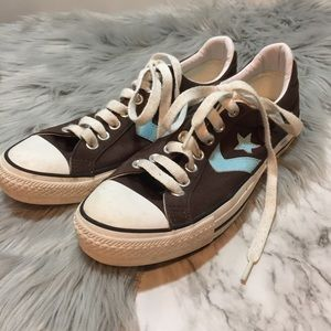 Converse re-issue brown canvas with light blue